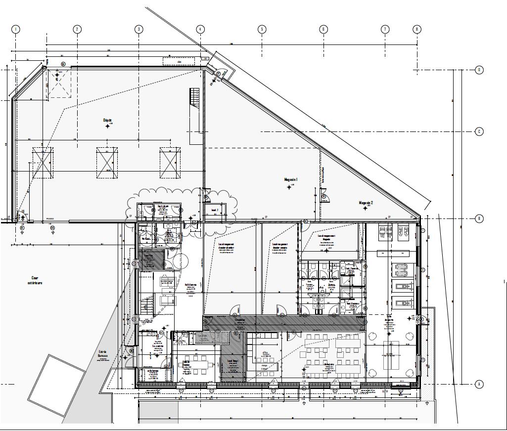coupe bâtiment vue du dessus du rez-de-chaussé